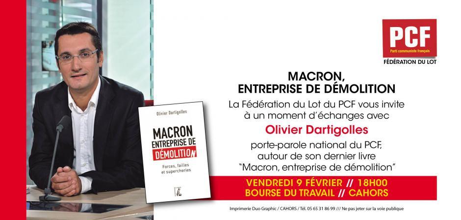 Olivier Dartigolles le vendredi 9 février à 18 heures, Bourse du Travail à Cahors