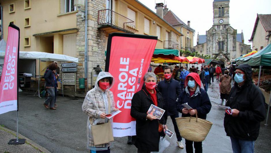 Élections régionales : La tête de liste lotoise de Carole Delga sur le marché de Limogne-en-Quercy // 2021.05.21