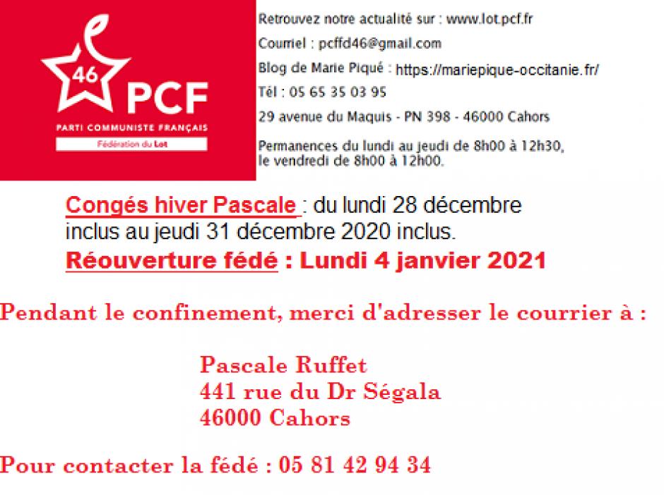 Permanences Fédé PCF 46